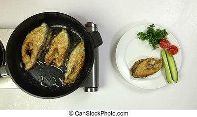 préparation, fish, frit