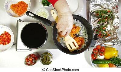 préparation nourriture, légumes, frit, -