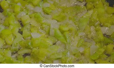 préparation, ragoût légume, moule, friture