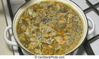 préparation, soupe, poêle, casserole, champignon