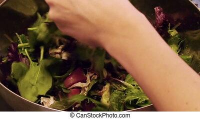 préparer, arugula, salade