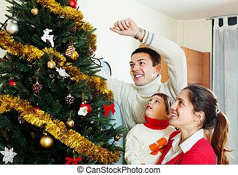 préparer, noël, famille, trois