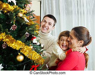 préparer, noël, famille, trois, rire