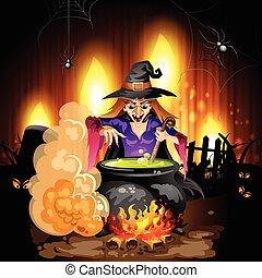 préparer, potion, sorcière