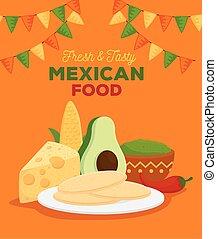 préparer, tacos, affiche, ingrédients, savoureux, frais, nourriture mexicaine