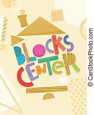 préscolaire, blocs, centre, illustration