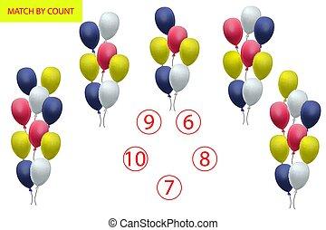 préscolaire, mathématiques, dénombrement, objects., task., mathématiques, logic., jeu, children., comment, apprentissage, nombres, beaucoup