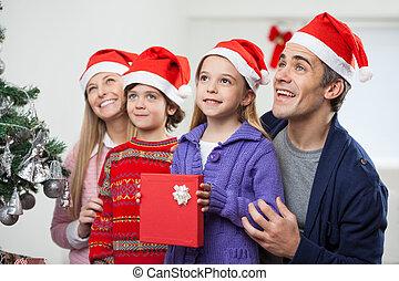 présent, chapeau, santa, noël famille