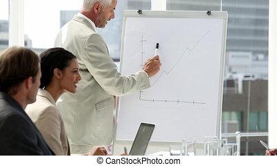 présentation, équipe, homme affaires