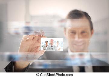présentation, content, homme affaires