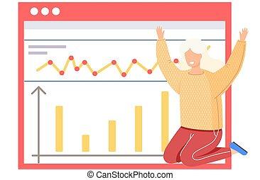 présentation, développement, croissance, ou, séance, investissement, affaires femme, statistique, report.