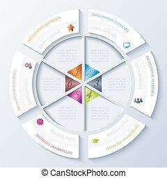 présentation, flot travail, conception, options, résumé, utilisé, cercle, education, segments., conception, vecteur, infographic, diagramme, six, graphique, illustration, nombres, disposition, être, toile, ou, boîte