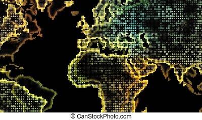 présentation, fond, carte, mondiale, projet, particles., effets, incandescent, map., animé, business