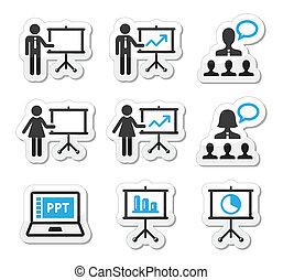 présentation, icône, business, conférence