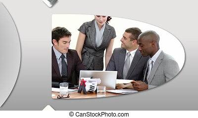 présentation, montage, businessteam