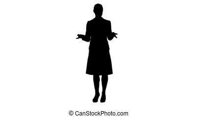 présentation, virtuel, donner, femme, silhouette