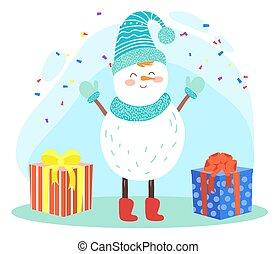 présente, boîtes, bonhomme de neige, fetes, noël