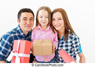 présente, fetes, concept, fond, -, noël, heureux, célébration, famille, blanc
