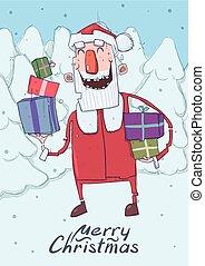 présente., par, sourire, sapin, rigolote, coloré, caractère, lettering., noël, vertical, neigeux, claus, space., dons, boîtes, santa, copie, dessin animé, carte, illustration., forest., porte, vecteur