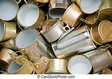 prêt, étain, recyclage, boîtes