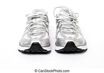 prêt, courant, séance entraînement, chaussures