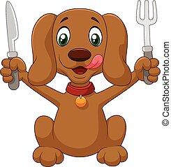 prêt, dessin animé, chien, affamé, manger