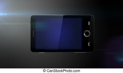 prêt, mobile, bleu, téléphone, écran