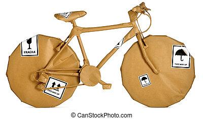 prêt, papier, fond, emballé, mouvement, brun, vélo, bureau, isolé, blanc