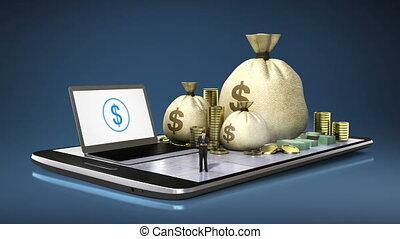 prêt, tampon, banque, mobile., téléphone, ligne, finances, intelligent