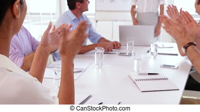 pr, équipe, applaudir, business, après