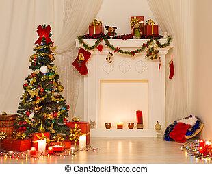 pr, lumières arbre, noël, salle, décoré, conception intérieur, noël