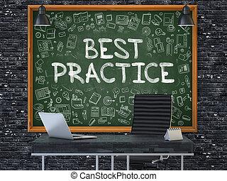 pratique, -, main, vert, chalkboard., dessiné, mieux