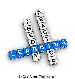 pratique, -, théorie, apprentissage