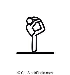 pratiquer, croquis, yoga, icon., homme