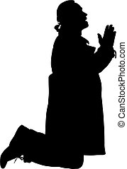 prayer., silhouette, agenouillement, homme