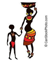 pregnant, africaine, stylisé, femme, child., illustration