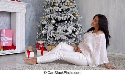 pregnant, arbre, dons, maman, noël, heureux
