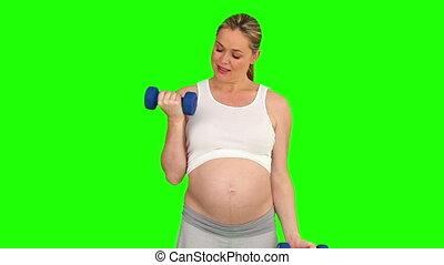 pregnant, dumbbells, femme, exercice
