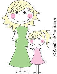 pregnant, fille, elle, mère