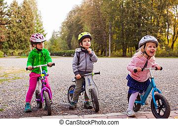 premier, concurrence, gosses, prêt, cyclisme
