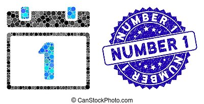 premier jour, 1, collage, icône, nombre, calendrier, timbre, page, gratté