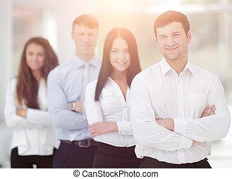 premier plan, éditorial, leur, equipe affaires