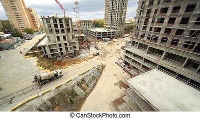 premier plan, arrive, site, mélangeur, béton, construction, cityscape