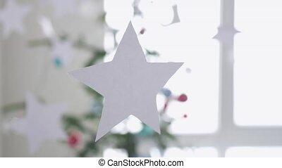 premier plan, lent, concept., motion., sapin, suivant, papier, fenêtre., étoiles, 3840x2160, pendre, noël