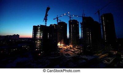 premier plan, secteur, ouvriers, site, dortoir, construction, cityscape