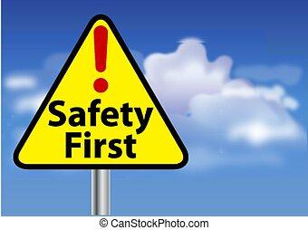 premier, sécurité, signe