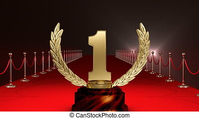 premier, trophée, clignotant, moquette, lumières, position, rouges