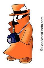 prenant photographies, vecteur, fourmi, dessin animé, illustration, détective