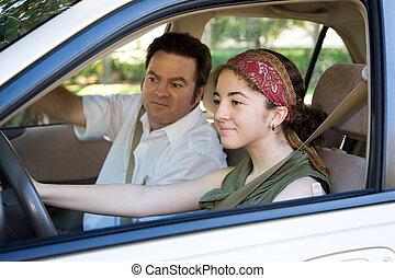 prend, adolescent, examen permis conduire
