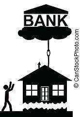 prend, banque, maison